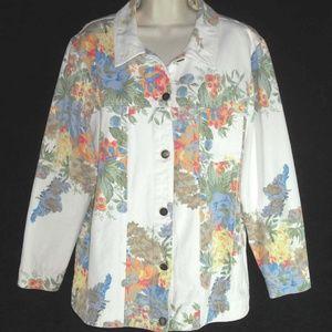 SUSAN GRAVER jacket L jean cut White Denim Floral